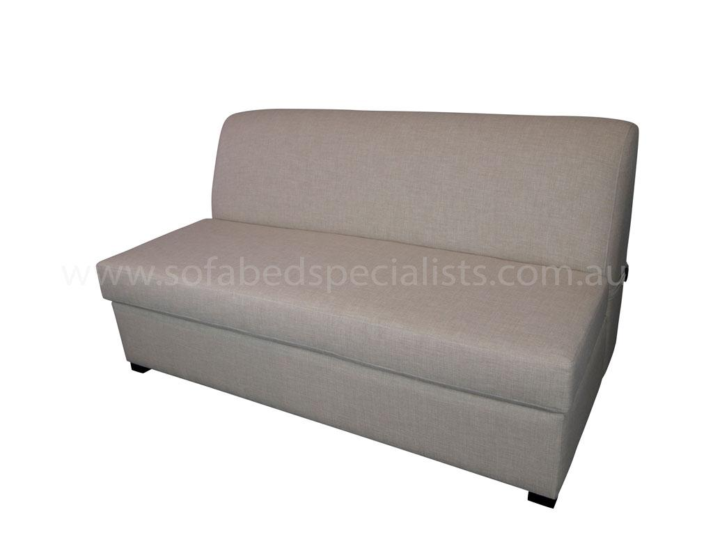 At Sofabed Specialists we custom make our Australian made sofabeds with trampoline base and innerspring mattress, our Armless sofabed is great for any space