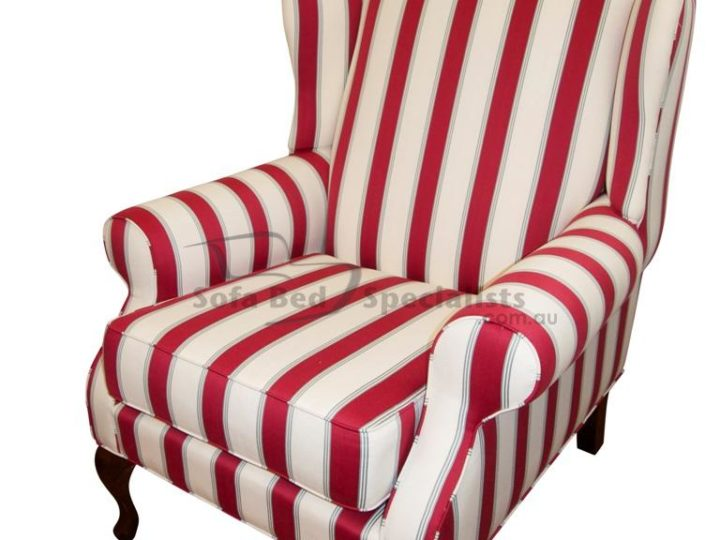 Red and white stripes.   Let the Sofabed Specialists help your own individual style shine through our beautiful custom made wing chairs - proudly Australian made.
